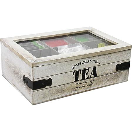 Boîte de rangement 'Tea' avec fenêtre, 24x16x9cm, boîte à thé, sachets de stockage