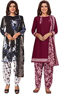S Salwar Studio Women's Pack of 2 Synthetic Printed Unstitched Dress Material Combo-MONSOON-2870-2881