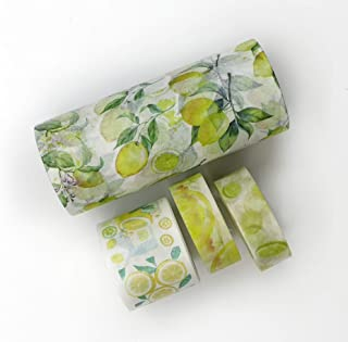 Lemon Print washi Tape Set of 4 Rolls. Incl Extra Wide Tape of 4 inches!. for scrapbooks, Wall Paper Borders, decoupage, Crafts, Decorating, Gift wrap