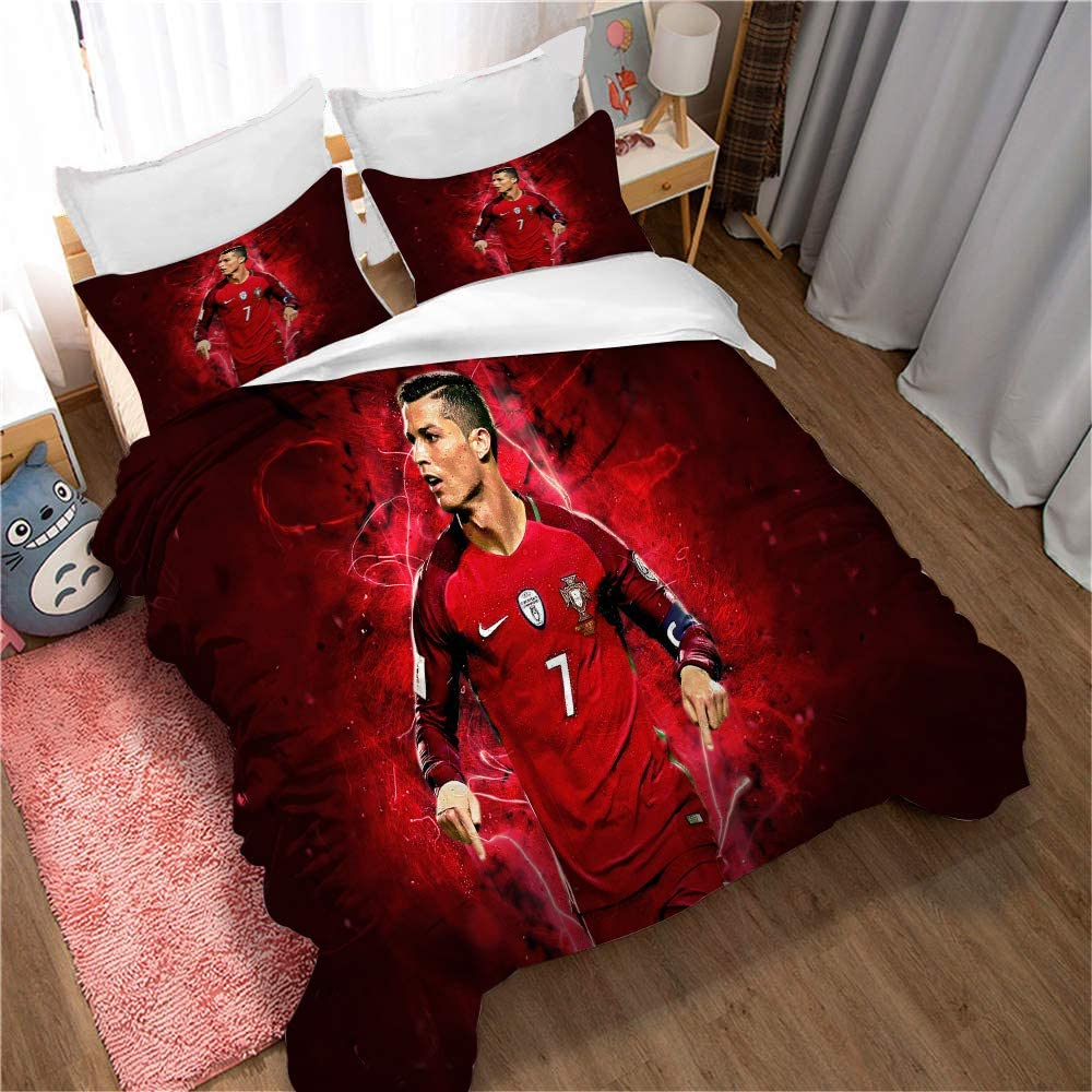 Meet, copripiumino calcio cristiano ronaldo ,set biancheria da letto