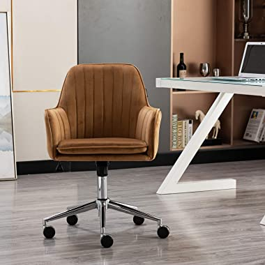 Artechworks Modern Home Office Chair Velvet Desk Chair with Metal Base Mid Back Ergonomic Computer Desk Chair Task Chair with