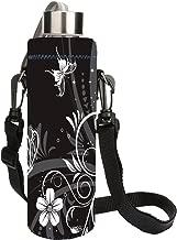 AUPET White Black 1L Water Bottle Insulated Neoprene Cover Storage Bag/Carrier Holder + Shoulder Strap 1000ML:PBC-031