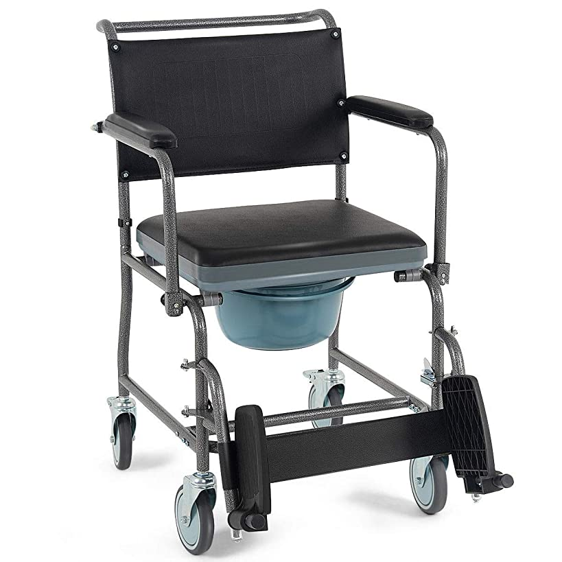 Giantex Medical Transport Toilet Commode Wheelchair Bedside Locking Casters Patient Commode Wheel Chair Over Toilet (Black)