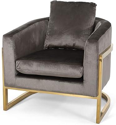 Christopher Knight Home Chloe Modern Velvet Glam Armchair with Stainless Steel Frame-Gray Finish, Black, Gold
