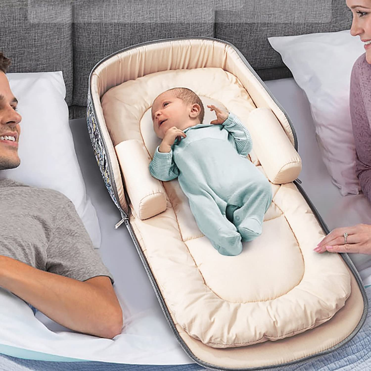 Aik@ Portable Foldable Baby Cribs Co-sleeping,Toddler Nest Baby Bed Travel Bed 100% Cotton Hypoallergenic Breathable Suitable For 0-1year Baby-C
