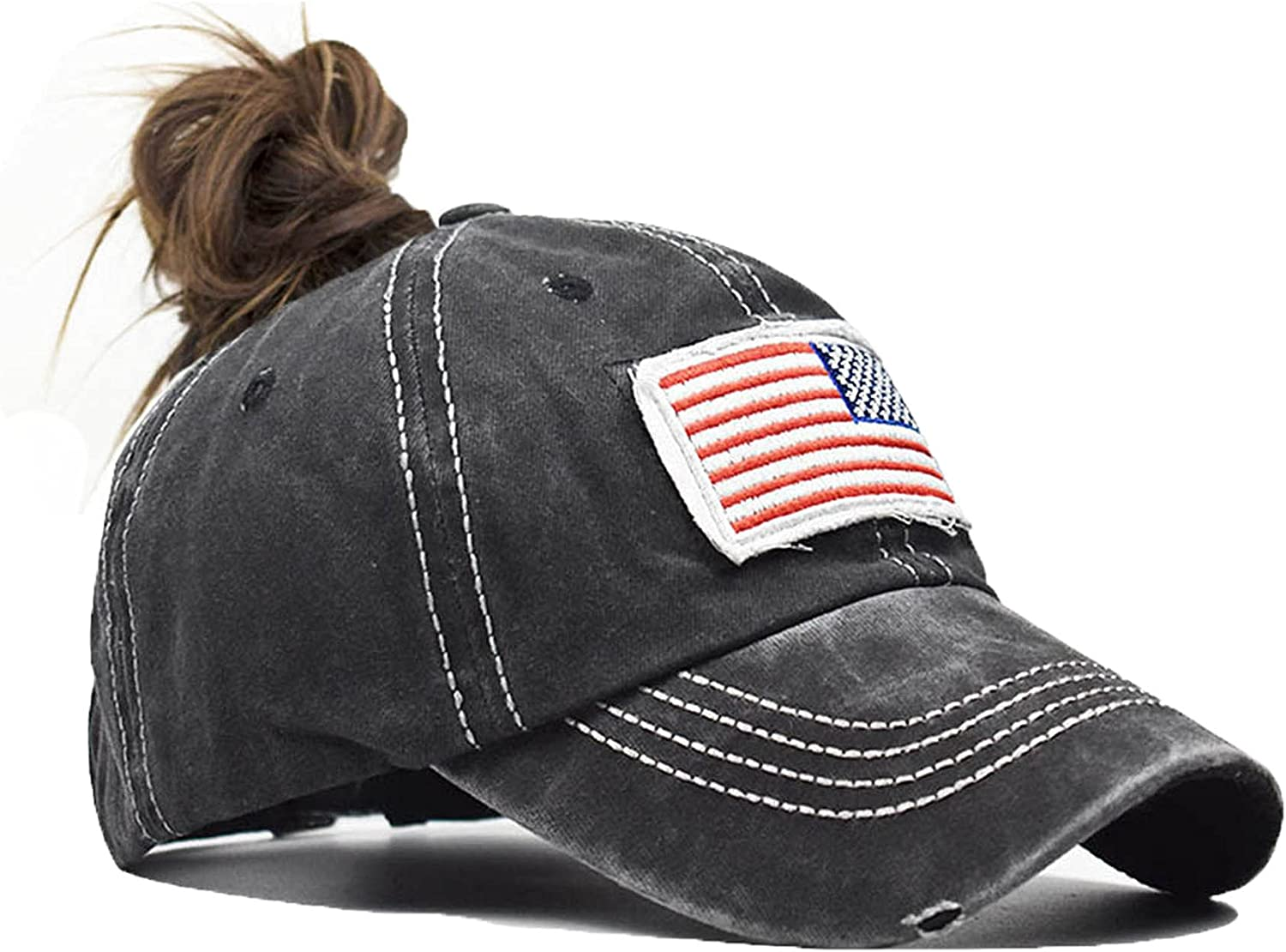 Womens Distressed Ponytail Hat American-Flag-Embroidered - Adjustable Messy High Bun Ponytail Baseball Cap
