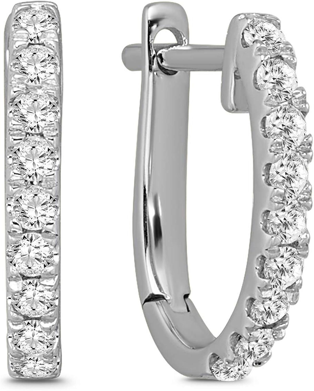 10K Gold Diamond Oval Hoop Earrings (1/5-1/3 cttw, I-J Color, I1 Clarity)