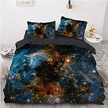 Zestaw pościeli z nadrukiem galaktyki, 3-częściowy zestaw pościeli z nadrukiem wszechświat księżyca, miękka poszewka na ko...