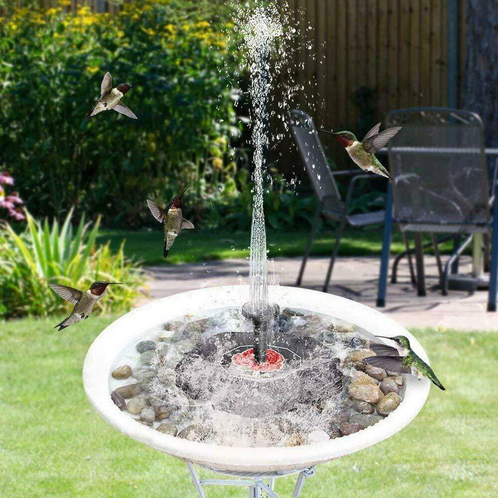 Fuente solar, bomba de estanque solar bomba de agua de jardín con fuente de panel solar monocristalino de 1.4W, decoración flotante para jardín, estanque pequeño, baño de aves, pecera, piscina (negro): Amazon.es:
