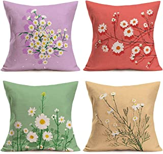 Doitely White Daisiy Pillow Covers 18 x 18 Inch Set of 4 Summer Decorative Throw Pillow Covers Farmhouse Decor for Living ...