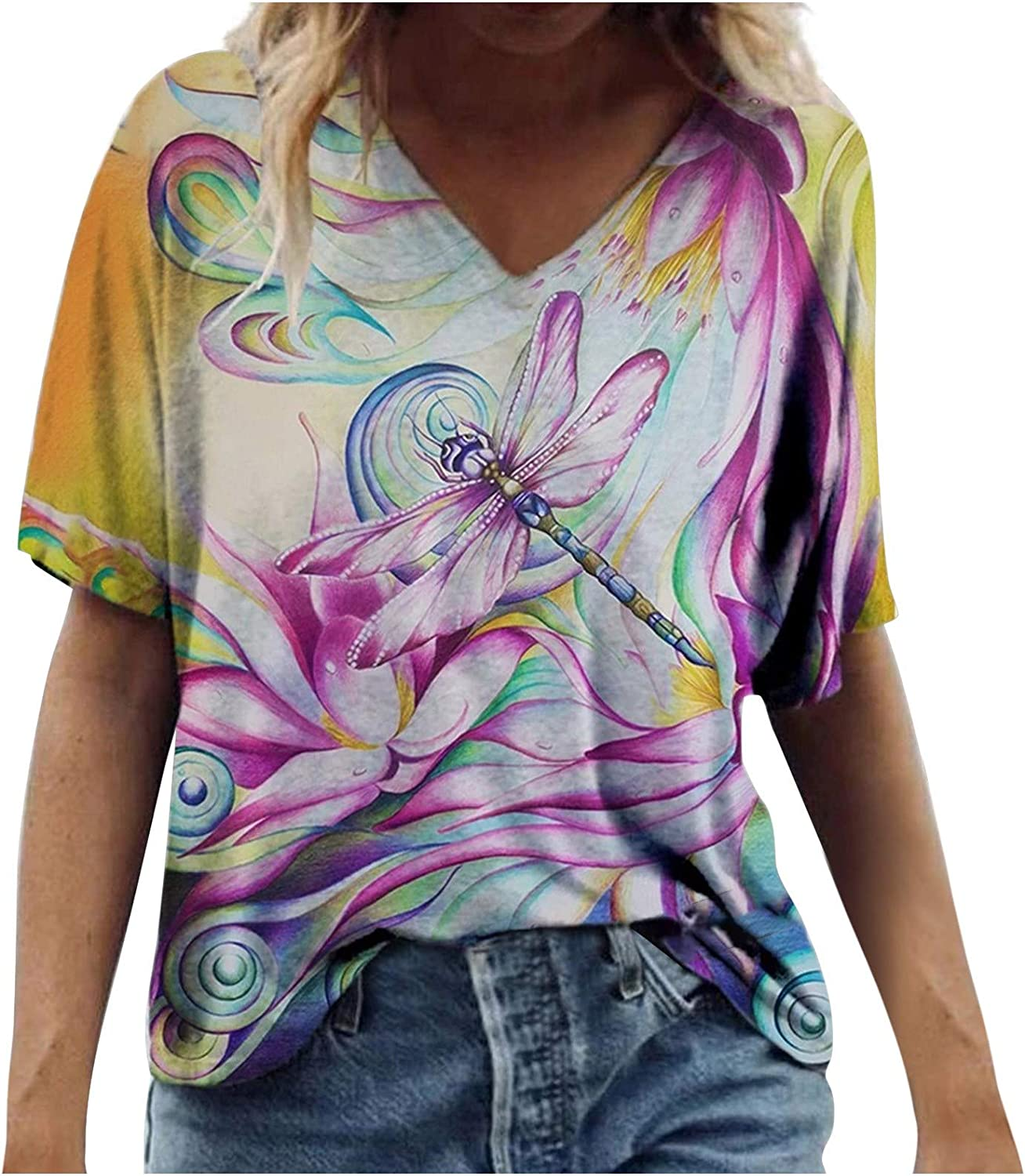 naioewe Womens Short Sleeve Tops Casual V-Neck Floral Graphic Tshirts Loose Summer Blouse Tops Tunics Comfy Daily Tees