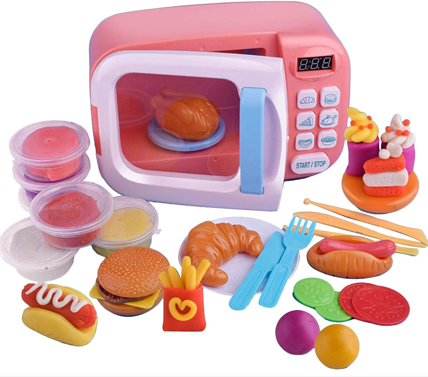 WuLL Microwave New mail order Large-scale sale Play Kitchen Set Kids Ov Electronic Pretend