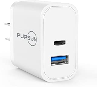 2020 Updated QC 3.0 Quick Phone Charger, One-Port USB Wall Charger & One-Port Type C Charger, 18W Output Travel Wall Charger Adapter Plug for iPhone, iPad Pro, Samsung Galaxy, Nokia and More (White)