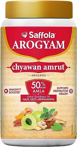 Saffola Arogyam Chyawanamrut includes Chyawanprash haldi Ayushkwath Kadha ingredients 1 25 kg
