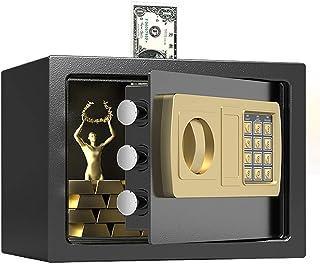 金庫 家庭用 小型 12.4 L テンキー式 業務用 電子金庫 金庫 セキュリティーボックス 保管庫 防犯対策 アンカーボルト付き 書類保管 壁付け対応 緊急キー2本 31×20×20cm (12.4 L)