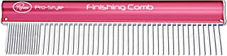 """Resco Pro-Style 10"""" Finishing Comb for Grooming Dogs, Cats, Horses, Pets, Coarse and Fine Tooth Spacing, Pink"""