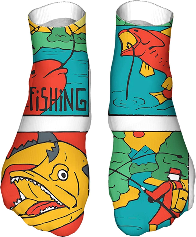 Men's and Women's Fun Socks Printed Cool Novelty Funny Socks,Colorful Caricature Cartoon Fish and Fisherman