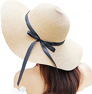 12b4583b0dc25d Itopfox Women's Big Brim Sun Hat Floppy Foldable Bowknot Straw Hat Summer  Beach Hat