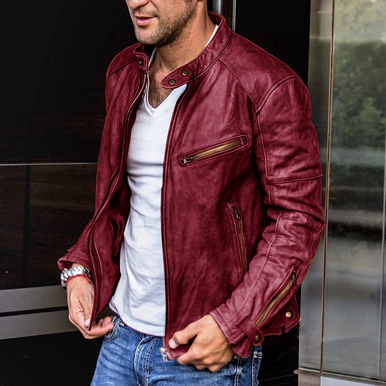 Men's Casual Stand Collar P-U Faux Leather Zip-Up Motorcycle Bomber Jacket