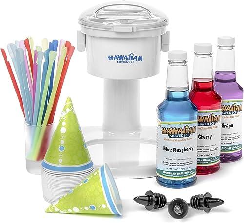 Hawaiian Shaved Ice Snow Cone Machine 3 Flavor Kit