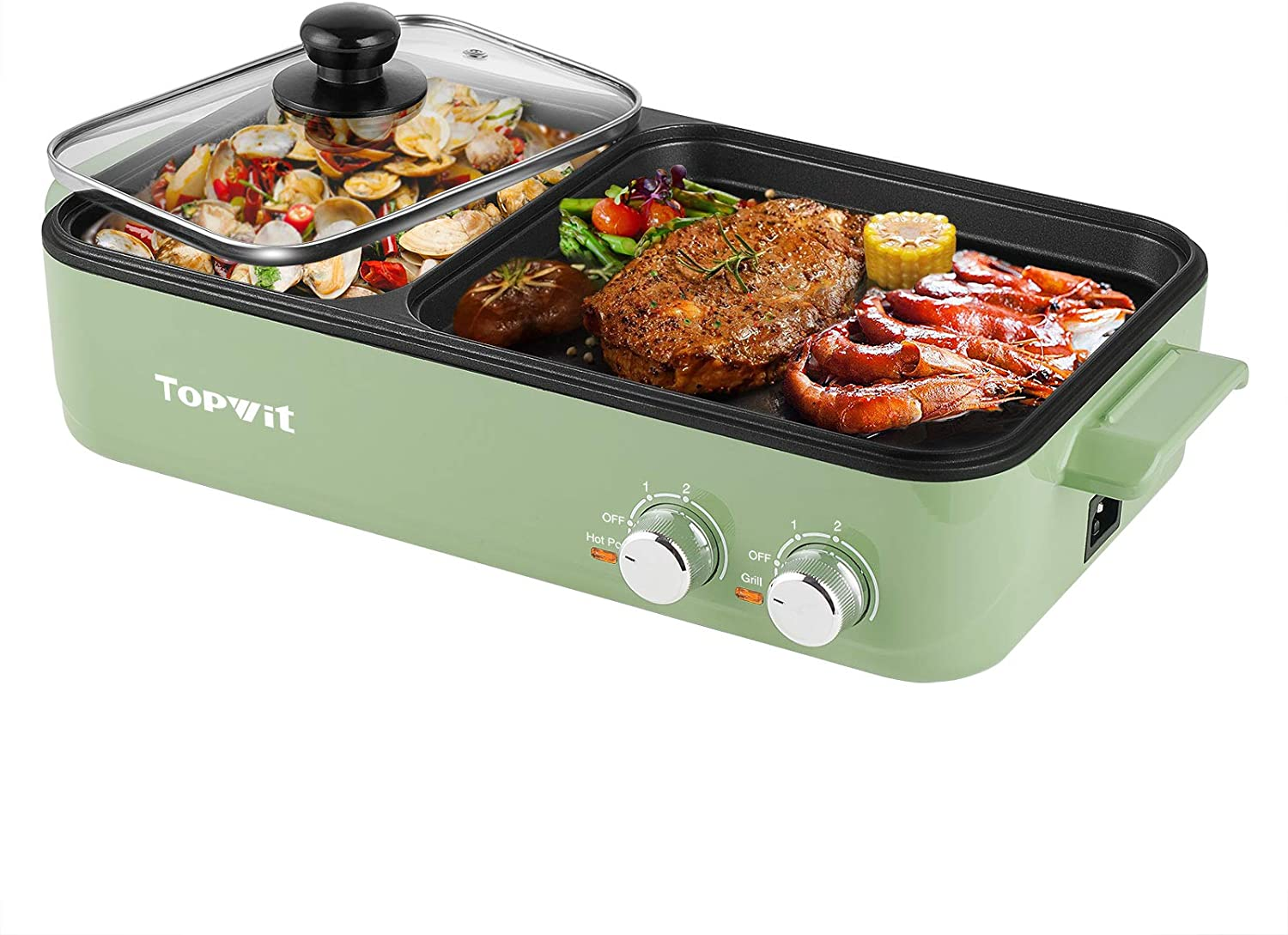Topwit Electric Grill with Hot Pot 2 倉 Elec Non-Stick 割り引き Indoor 1 in