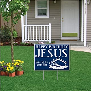 VictoryStore Yard Sign Outdoor Lawn Decorations - Happy Birthday Jesus (Blue) Christmas Lawn Display - Yard Sign Decoration
