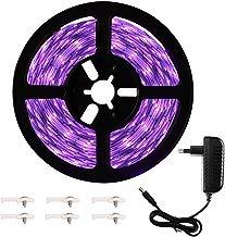 Onforu 5M Luz UV Tiras Cadenas LED Ultravioleta 300 LEDs 12V 2835 Luz Negra, Adaptador Incluido, Iluminación Interior Flexible No-Impermeable para Bar Club DJ Disco Fiesta KTV Pintura Corporal