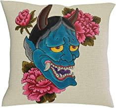 POCOVER Japanese Oni Folklore Cushion Cover Watercolor Blue Hannya Pink Blooming Flowers Artwork Print Pillowcase Vintage Yokai Cotton Linen Soft Square Decorative Home Throw White 18 x 18