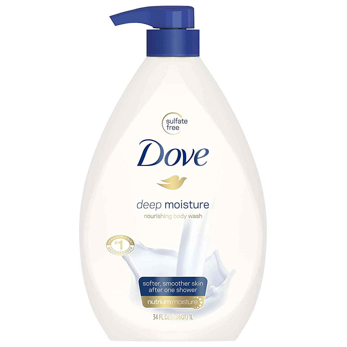 傾いたゆり明るくするDove Body Wash, Deep Moisture Pump 34 Ounce by Dove