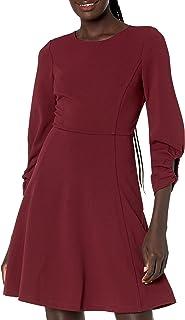 Lark & Ro Vestido Acampanado con Cuello Redondo y Mangas 3/4 con Bolsillos Vestido Casual de Negocios para Mujer