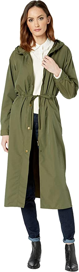 Long Cinch Waist Snap Front Hooded Coat