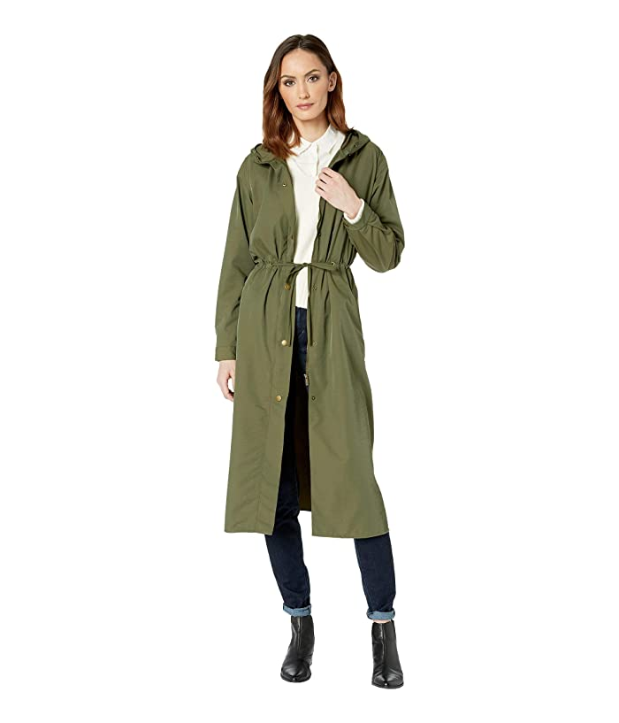 TWO by Vince Camuto Long Cinch Waist Snap Front Hooded Coat (Military Green) Women