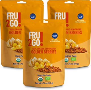 Fru2Go Organic, Dehydrated Golden Berries - 1.76 oz (Pack of 3) - Tangy/Tart - No Sugar Added - Dry, Raw Goldenberry - Unsulfured - Direct Fair Trade Fruit - from Colombia