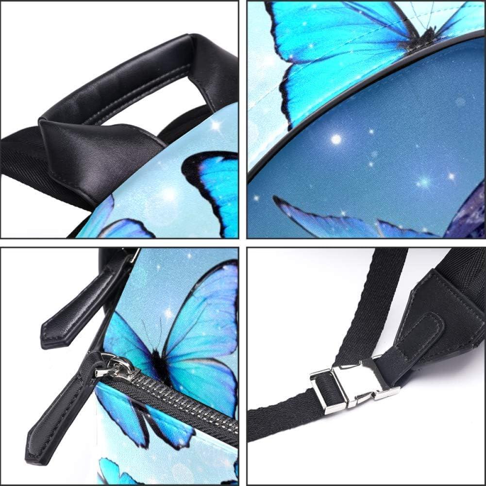 TIZORAX Sac à dos en cuir avec papillons et pois volants pour homme femme fille garçon Motif 6 14.5x12.5x5.9in Motif 9
