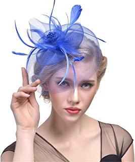 Veil Hat Clips New Elegant Women Feather Hat Hairpins Fascinator Hat With Flower Hair Accessories Bride Party Hair Clips blue