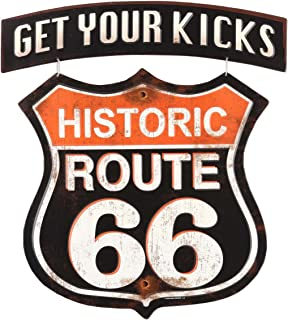 Route 66 Open Road Brands Linked Emb Tin Sign - Get Your Kicks