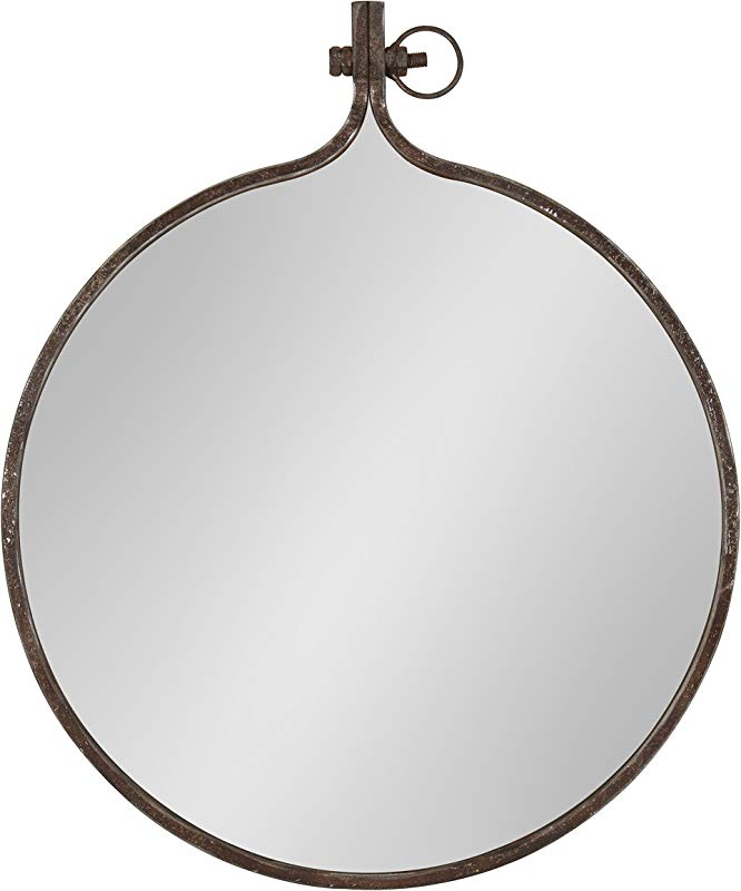 Kate And Laurel Yitro Round Industrial Rustic Metal Framed Wall Mirror 23 5 Diameter Bronze