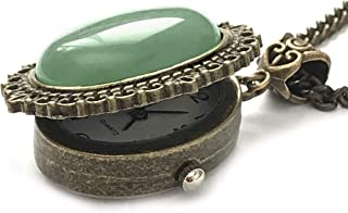 Aventurine Gemstone Locket Watch Necklace Bronze 8th Wedding Anniversary Gift Wrapped & Gift Boxed