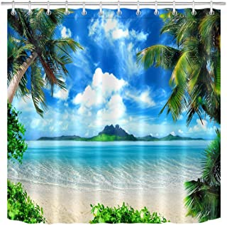 LB Ocean Theme Shower Curtain Beach Theme Tropical Palm with Blue Green Ocean Scenery Bathroom Curtain,72x72Inch Waterproof Fabric for Stall Shower with 12 Hooks