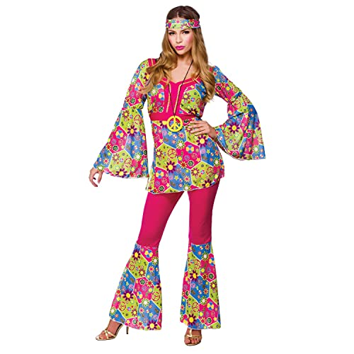 Ladies Feelin Groovy Costume For 60s Mods Rockers Hippy Fancy Dress Womens Pink Large