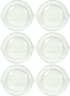 Pyrex 24-CM Basics 9.5 in Scalloped Round Glass Bakeware Pie Dish - 6 Pack