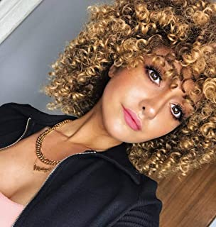 Goodly Ombre Blonde Short Afro Curly Wigs with Bangs for Women Blonde Wig with Brown Roots Synthetic Kinky Curly Hair Wig Afro Heat Resistant Full Wigs (Ombre Blonde)