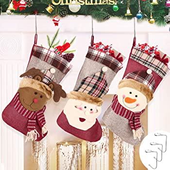 Candy Sacchetti Regalo per Albero di Natale Festa di Natale Decorazioni Stile Verde Calza Natalizia 46x32cm Popolic Calza di Natale Set di 3 Calza di Babbo Natale con Biglietto di Auguri