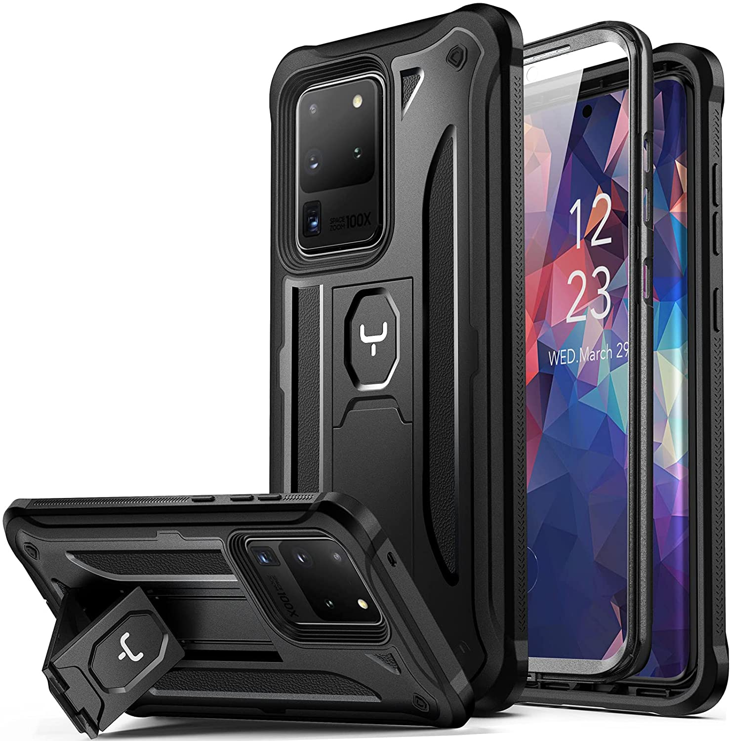 YOUMAKER Designed for Samsung Galaxy S20 Ultra Case with Built-in Screen Protector Work with Fingerprint ID Kickstand Full Body Heavy Duty Shockproof Cover for Galaxy S20 Ultra 5G 6.9 inch - Black