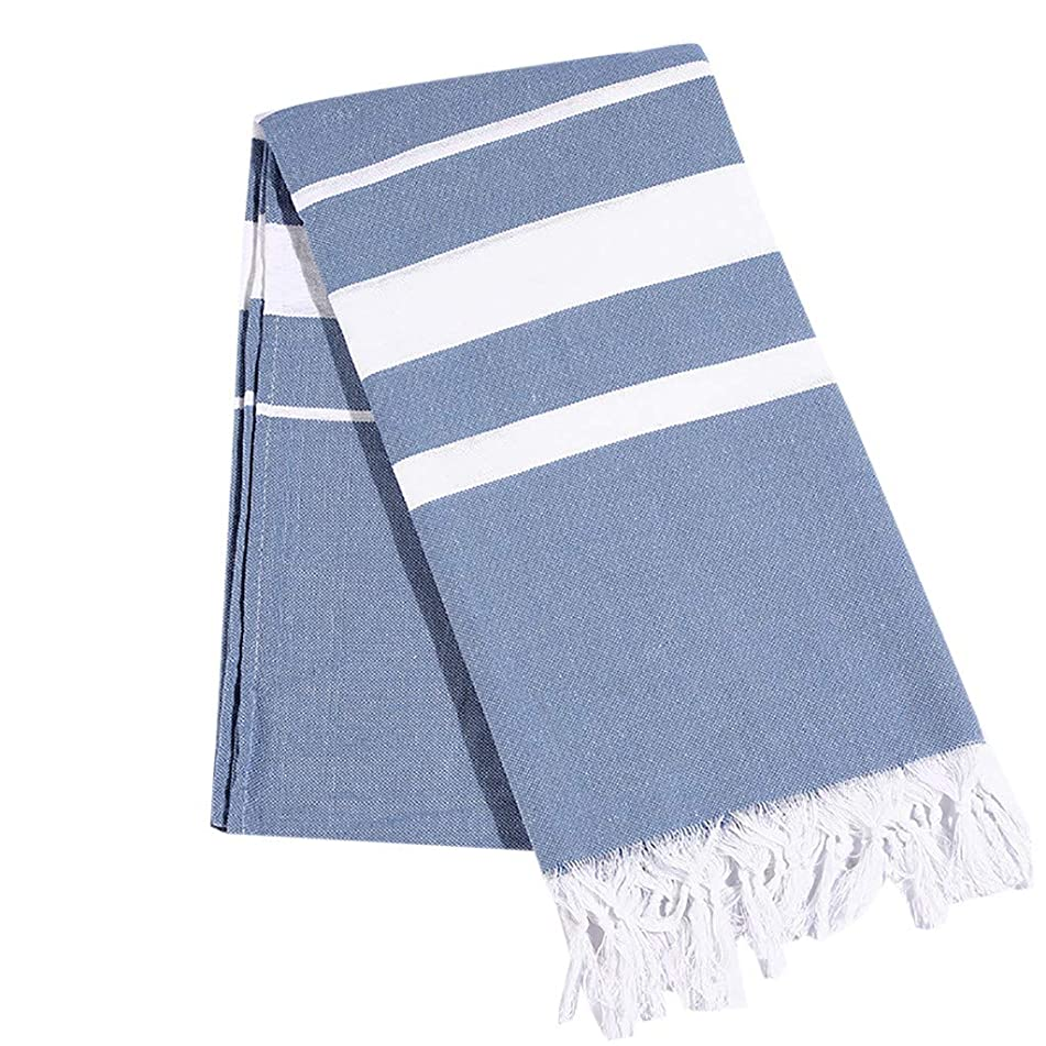 youeneom Microfiber Striped Beach Towel (63x31'')-Soft, Quick Dry, Lightweight, Absorbent, and Plush for Swimming, Sand Free Towel Kids Adult (Blue)