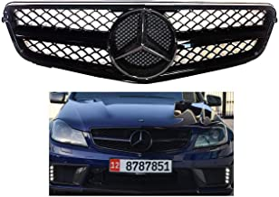 Mercedes-Benz W204 C-Class all black grille 2008 209 2010 2011 2012 2013 2014 C200 C250 C300 C350 4/2 door with star emblem glossy. #240