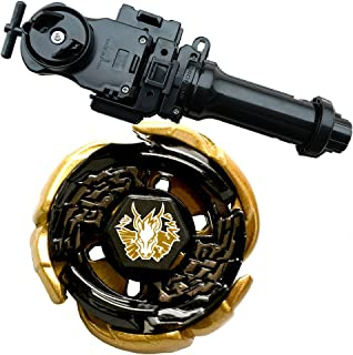 Lots 4D WBBA Top Rapidity Metal Fusion Fight Master Gold L-Drago Game with Metal Fusion Fight Power Launcher Black + Launcher Grip Set