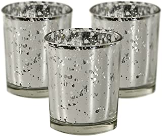 Candles4Less - Mercury Glass Votive Candle Holders, Perfect for Home decoration, events and weddings (72, Silver)