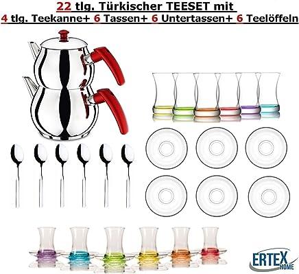 Preisvergleich für Orginal türkisches Tee Set Teeset 22 TLG./ 6 Bunte Gläser/ 6 Rührlöffel/ 6 Untertassen / 4 TLG. Teekocher Teekannen Set Größe Mini (1,2 & 0,6 Liter)