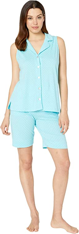 Sleeveless Notch Collar Bermuda Pajama Set